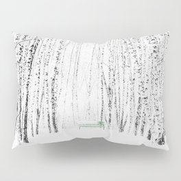 Green bench in white winter forest Pillow Sham