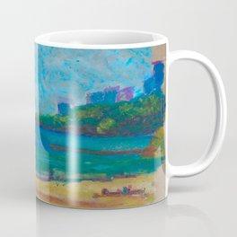 Beach in early spring. Oil pastel etude. Coffee Mug