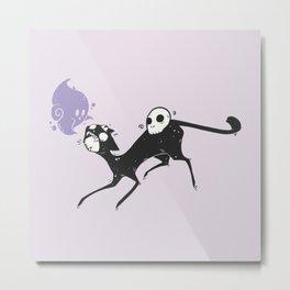 Spooky Black Cat Artwork Metal Print
