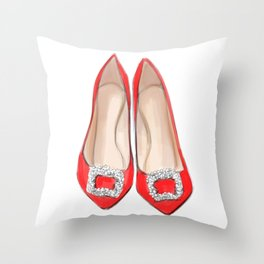 Manolo Red Shoes Throw Pillow