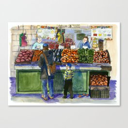 People in the Marketplace Canvas Print
