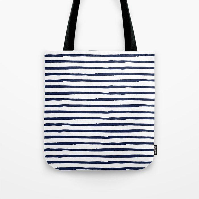 Navy Blue Stripes on White Tote Bag