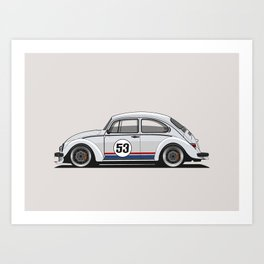 Legendary Custom Herbie 53 Bug Vintage Retro Cool German Car Wall Art and T-Shirts Art Print