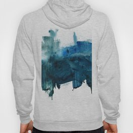 Change: A minimal abstract acrylic painting in blue and green by Alyssa Hamilton Art Hoody