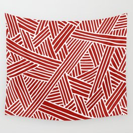 Abstract Navy Red & White Lines and Triangles Pattern Wall Tapestry