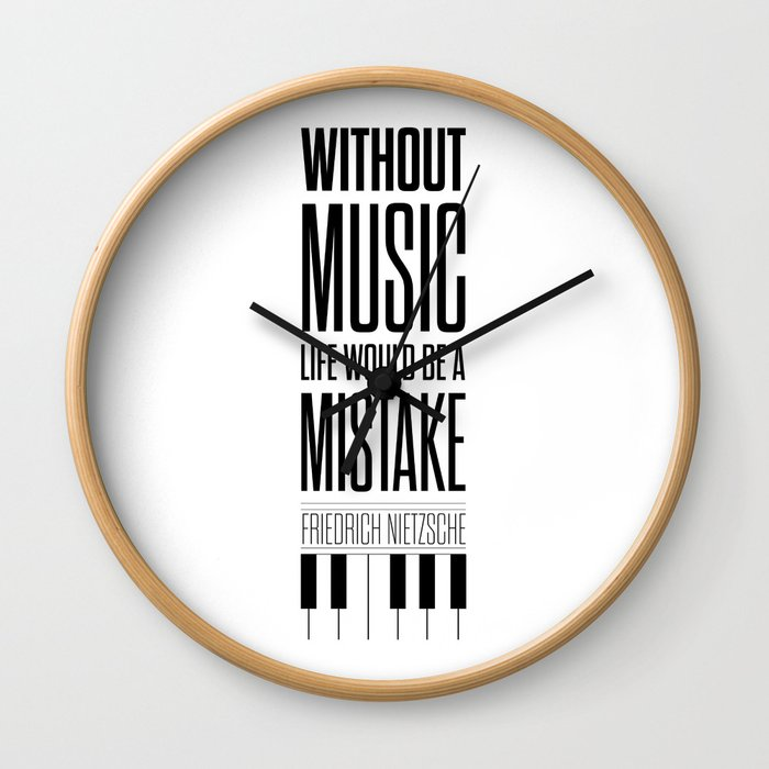 Lab No 4 Friedrich Nietzsche Quote Life Music Typography Poster Wall Clock