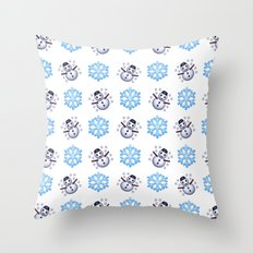 C1.3D Snowmoji Throw Pillow