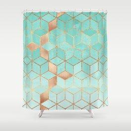 Soft Gradient Aquamarine Shower Curtain