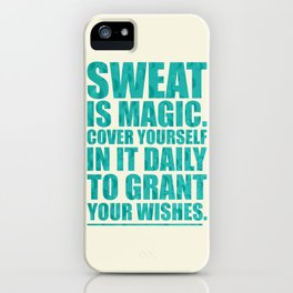 Lab No. 4 - Sweat Is Magic Cover Yourself In It Daily Gym Inspirational Quotes Poster iPhone Case