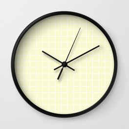 Light goldenrod yellow - pink color -  White Lines Grid Pattern Wall Clock