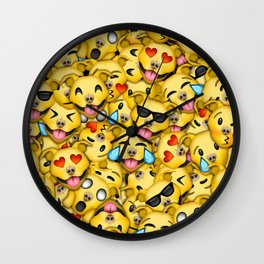 Pitbull Pattern Yellow Wall Clock