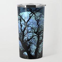 Tree Blue Moon Midnight Blue Sky Cottage Decor Art A474 Travel Mug
