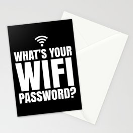 What's Your WiFi Password? (Black & White) Stationery Cards