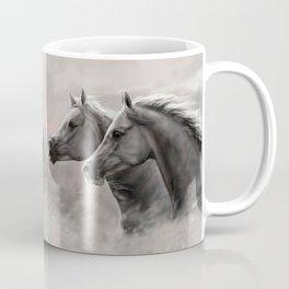 Two Horses Painting Gift Black Stallions                                          Coffee Mug
