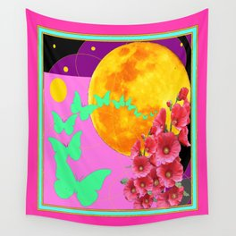 Luminous Green Butterfly Migration Wall Tapestry
