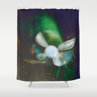 navy Shower Curtains featuring Navy by Stephano Herrera
