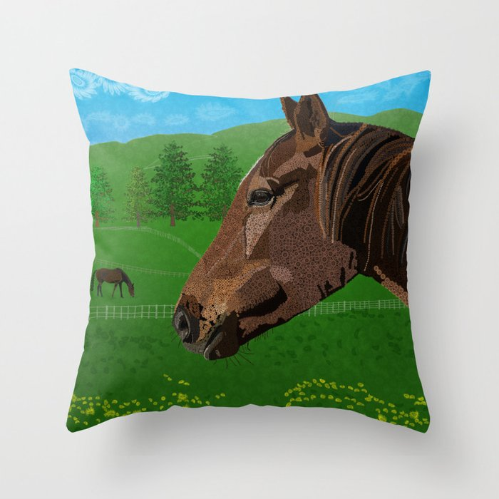 The Flower - The Horse  Throw Pillow