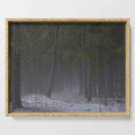 Foggy forest path. Serving Tray