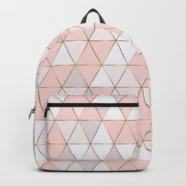 Pink geometrc trianges print Backpack