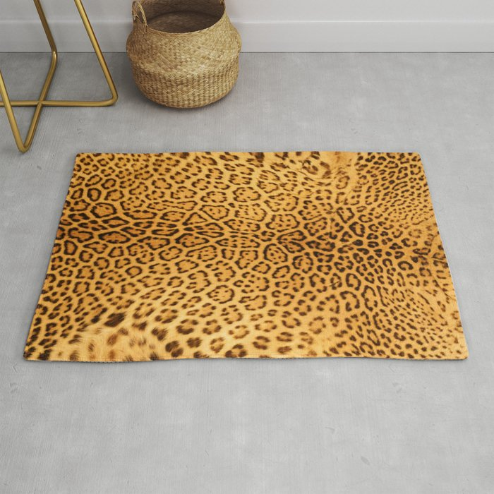 Brown Beige Leopard Animal Print Rug By Katelcardsnmore
