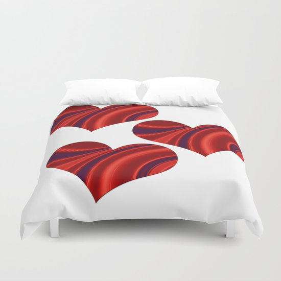 Fractal Heart Trio Duvet Cover