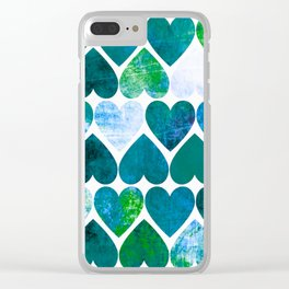 Mod Green & Blue Grungy Hearts Design Clear iPhone Case