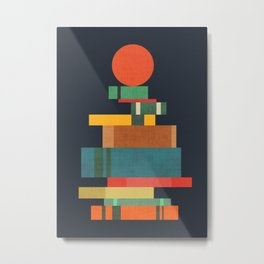 Book stack with a ball Metal Print