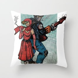 Ginny & Clutch (Little Red Riding Hood Reloaded) Throw Pillow