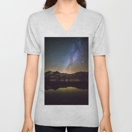 Galaxy Behind the Mountain Unisex V-Neck