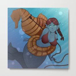 Lassoed Mermaid Metal Print