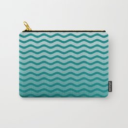 Teal and White Faded Chevron Wave Carry-All Pouch