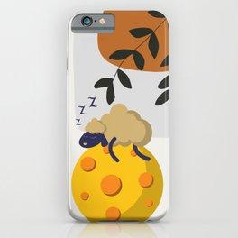 Sleeping sheep under leaves iPhone Case