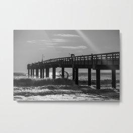 Fishermen on a Pier Metal Print