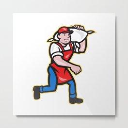 Flour Miller Carry Sack Walking Cartoon Metal Print