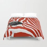 zebra Duvet Covers featuring Zebra by Saundra Myles