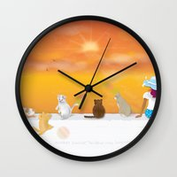 sunrise Wall Clocks featuring Sunrise by Graphic Tabby