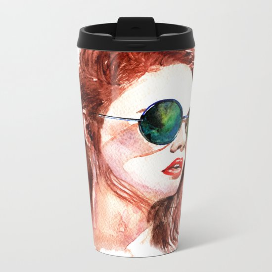 Attitude -watercolor portrait Metal Travel Mug