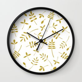 Gold Leaves Design on White Wall Clock