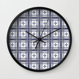 Preppy Plaid in Navy and Gray Wall Clock