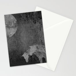Moon with Horses in Grays Stationery Cards