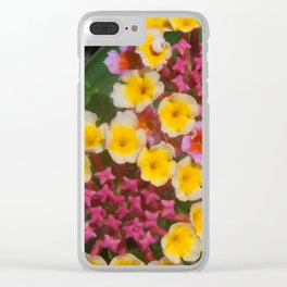Small Yellow Tropical Flowers With Pink Buds Clear iPhone Case