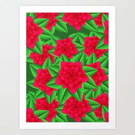 Dark Red Camellias and Green Leaves Art Print