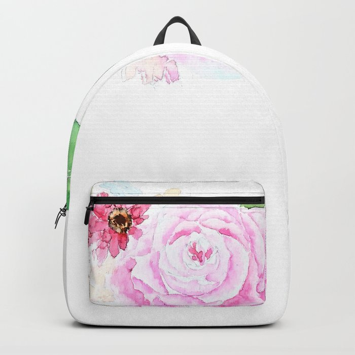 flower heart pink rose and daisy watercolor Backpack
