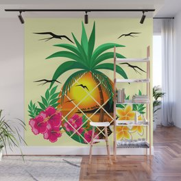 Pineapple Tropical Sunset, Palm Tree and Flowers Wall Mural