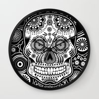 sugar skull Wall Clocks featuring sugar skull by Ancello