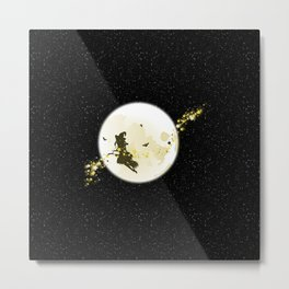 Flying Witch over Full Moon Metal Print