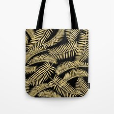 Palm Leaf Pattern Gold And Black Tote Bag