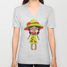 African American Girl, Watermelon Girl, Green Dress Unisex V-Neck
