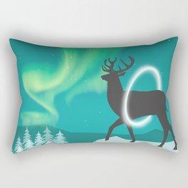 Magic Deer of the North Selas Aurora Borealis Rectangular Pillow