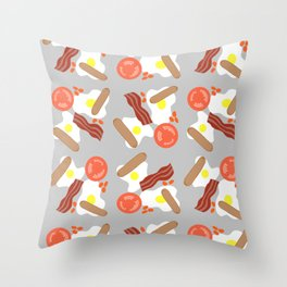 A Very English Fry Up Repeating Pattern Throw Pillow